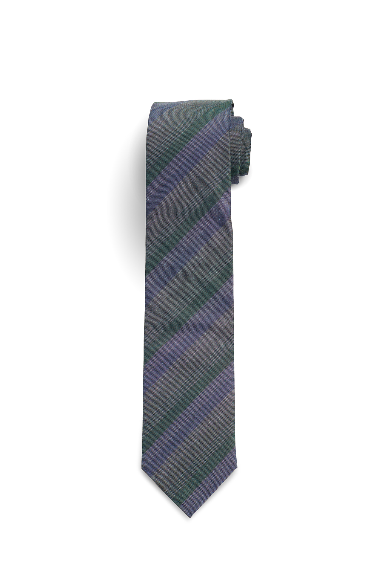 Silk Cotton Blend Green Blue Stripe Tie