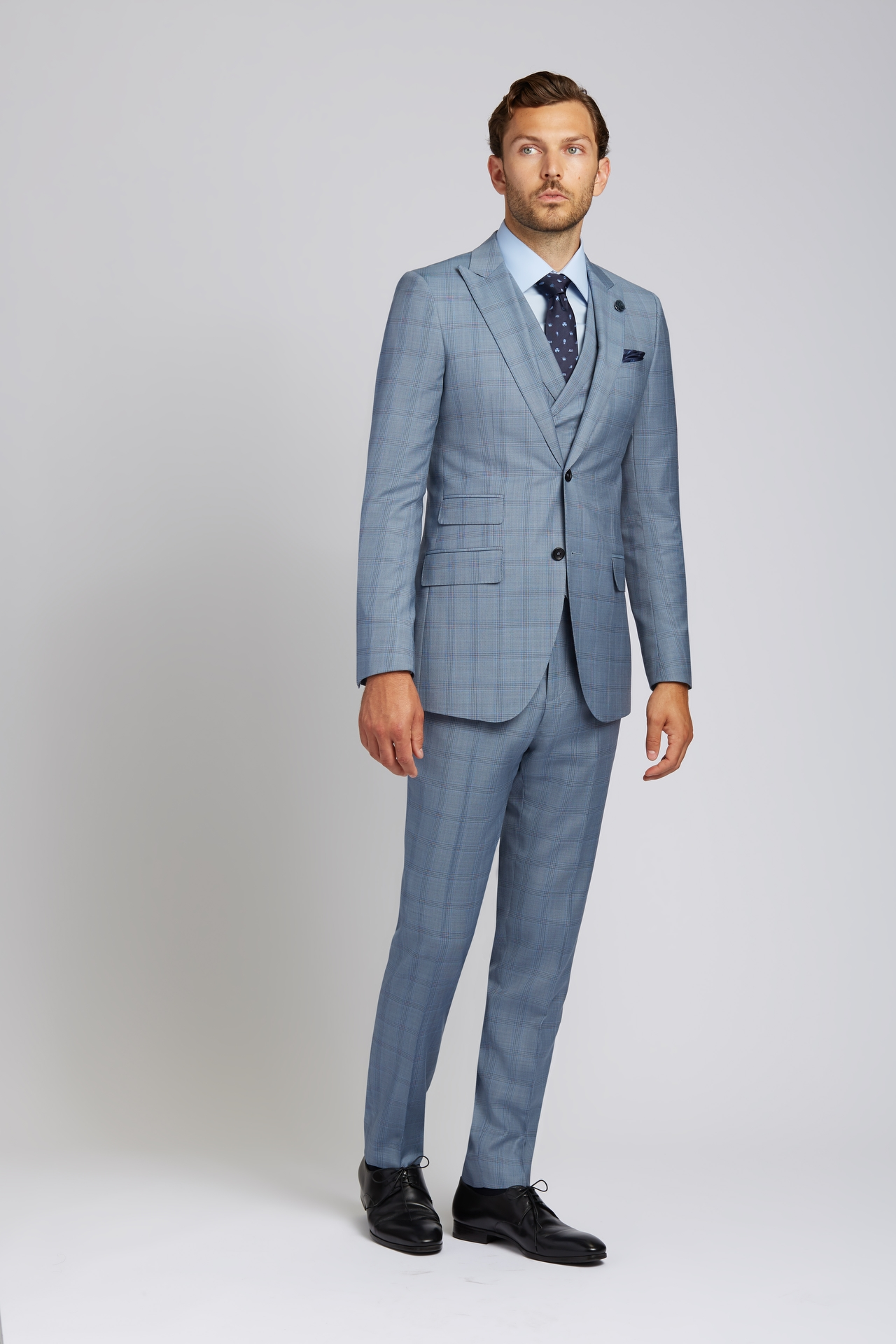Slim-fit Super 130s Wool 3-Piece Suit in Steel Blue Glen Plaid