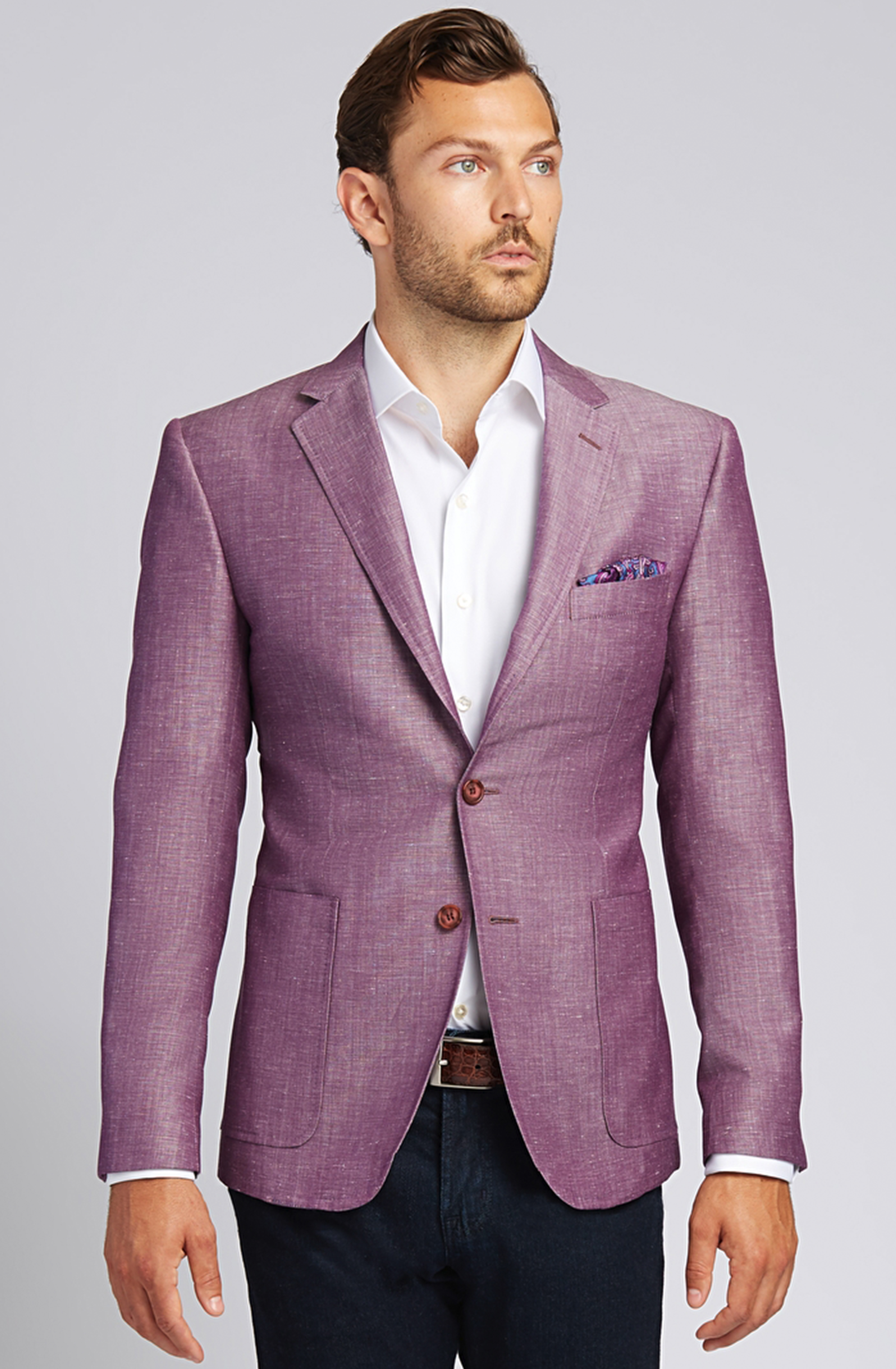 Slim-fit Linen-Blend Jacket in Plum