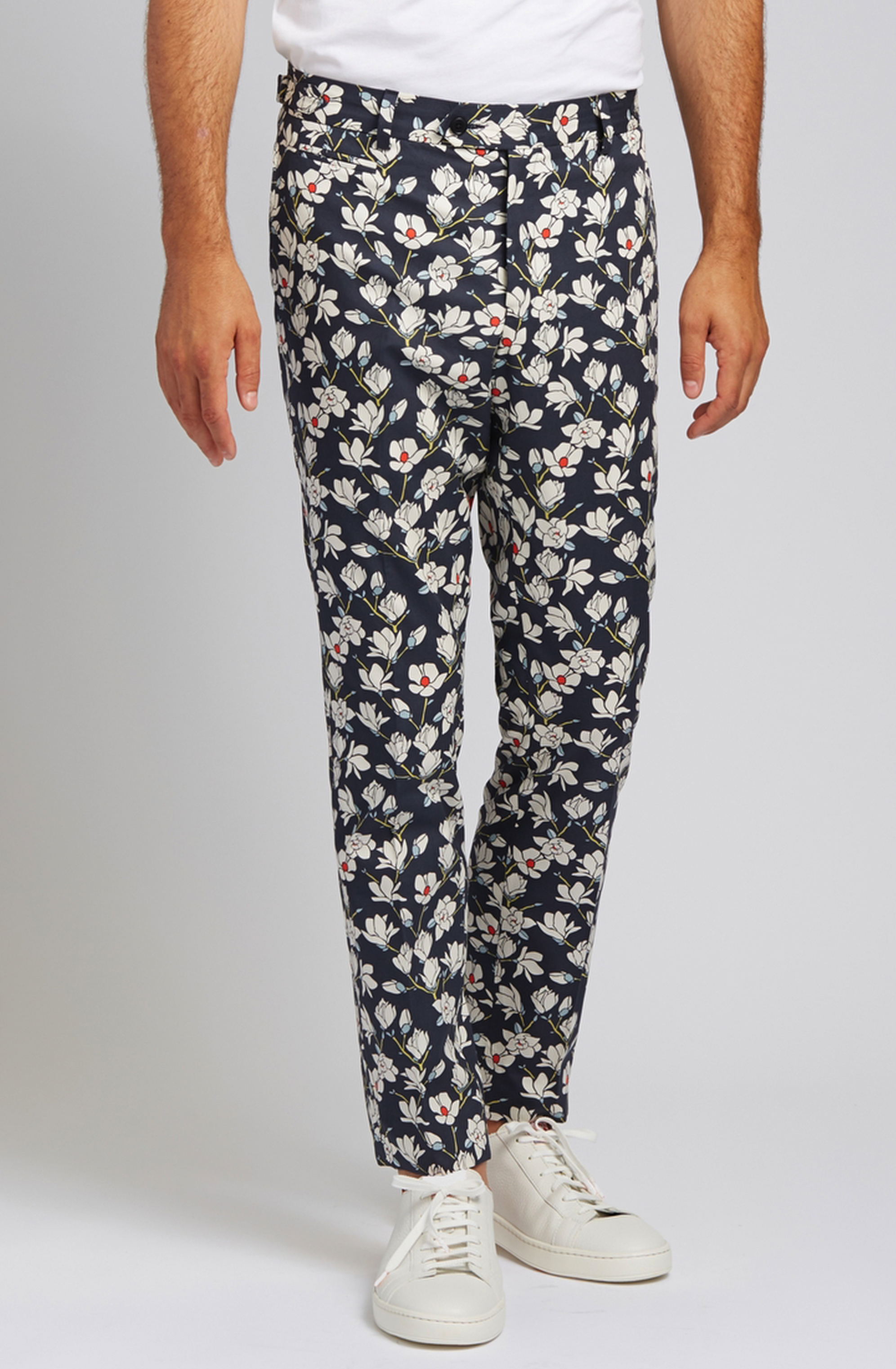 Slim-Fit Cotton Trousers in Magnolia Navy