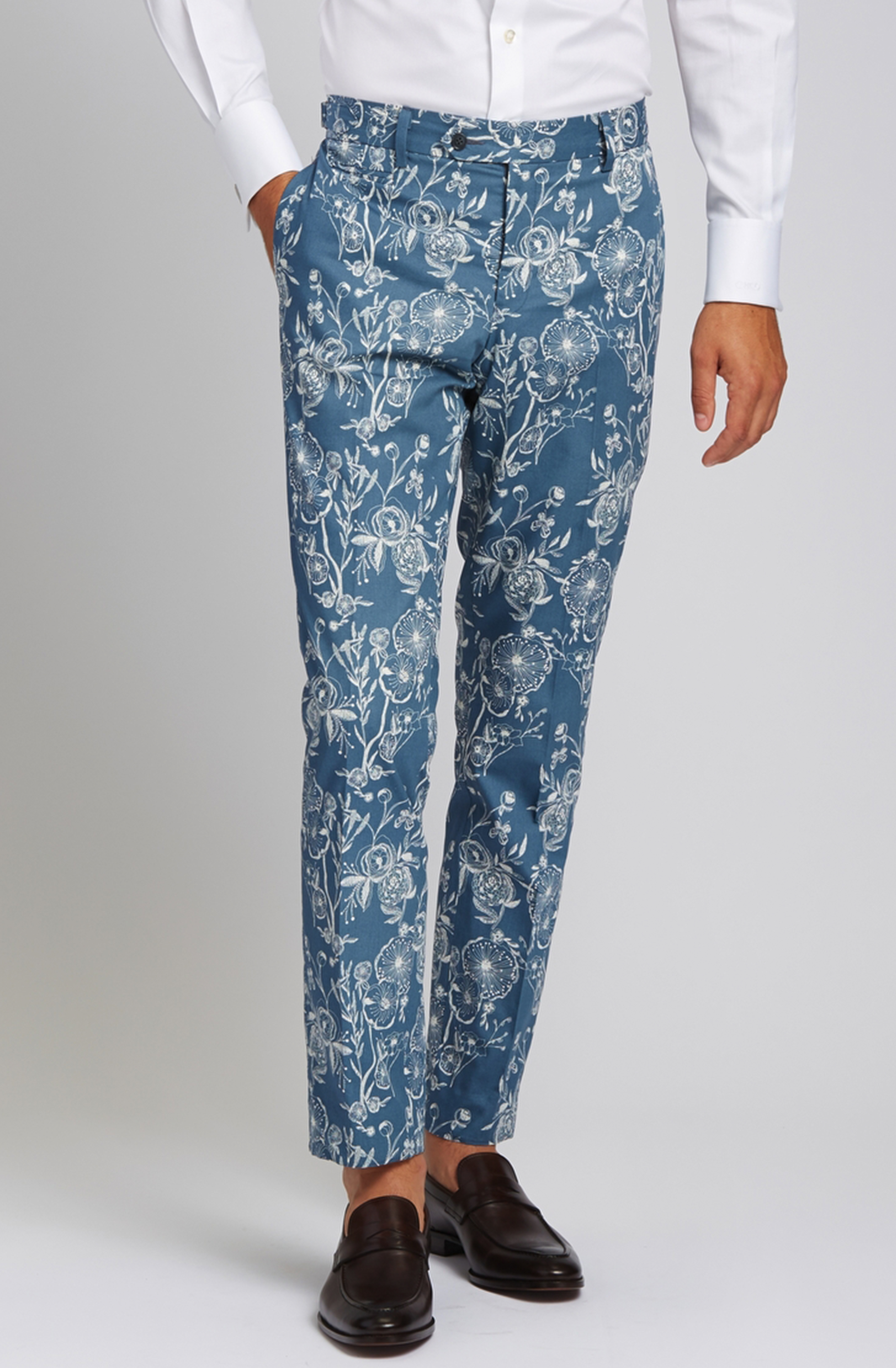 Slim-Fit Cotton Trousers in Hand-sketched Floral Slate Blue