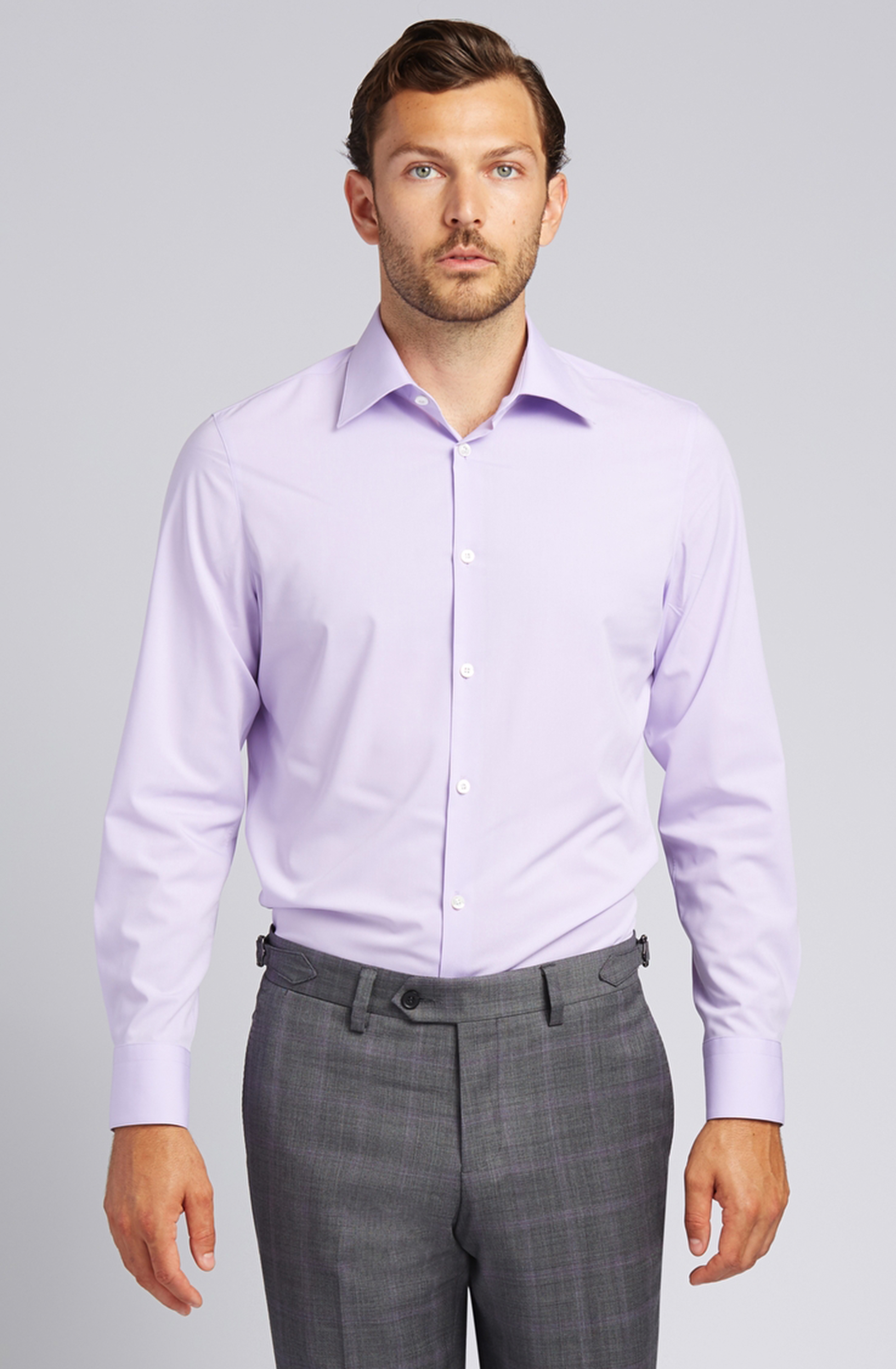 Button-Front Dress Shirt in Lavender
