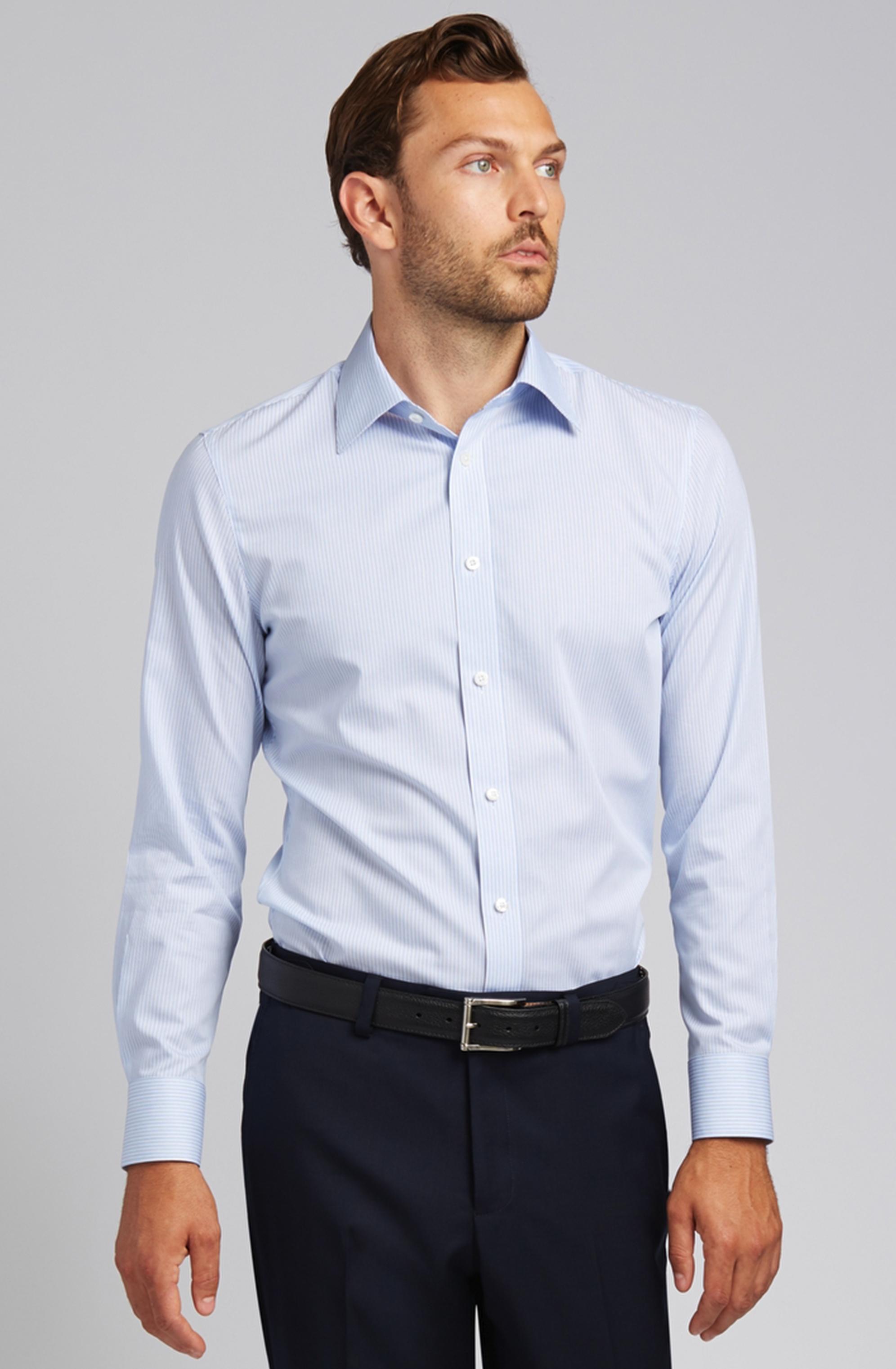 Button-Front Dress Shirt in Vertical Blue Stripe