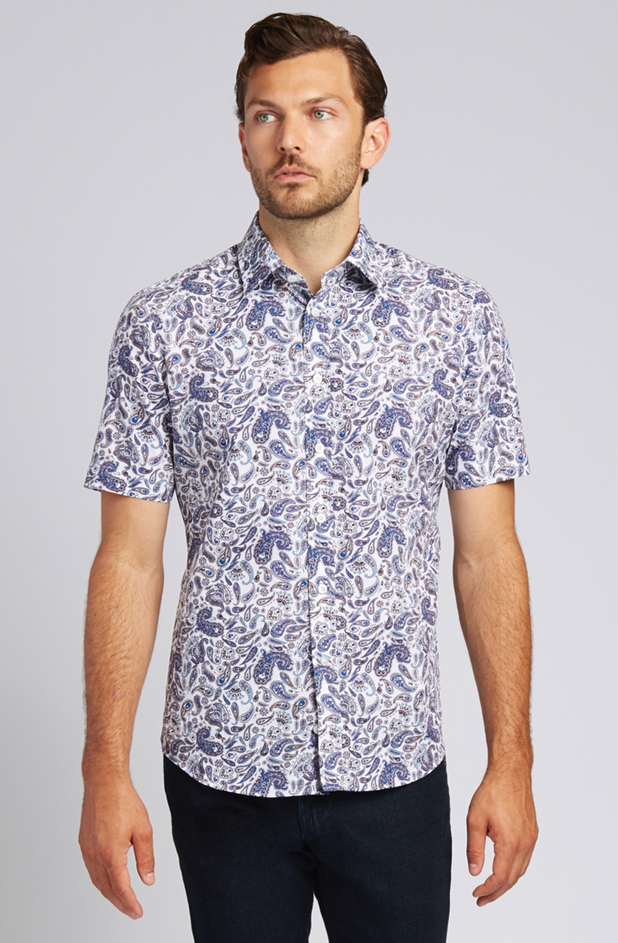 Blue Paisley Short-Sleeve Button-Front Shirt