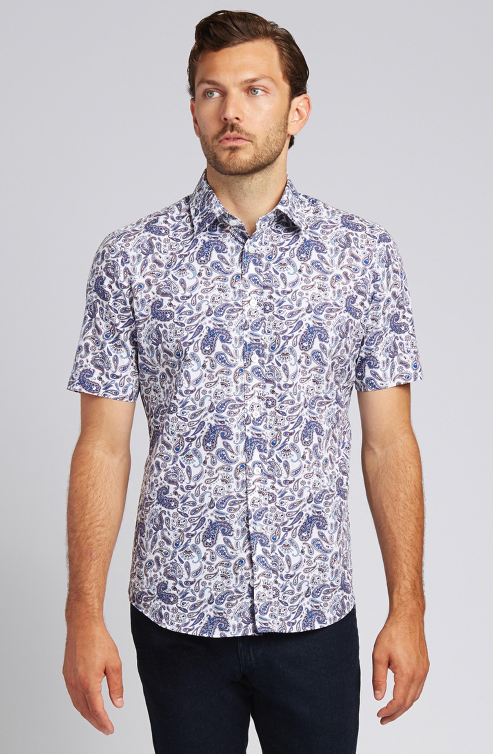 Blue Paisley Short-Sleeve Button-Front Shirt