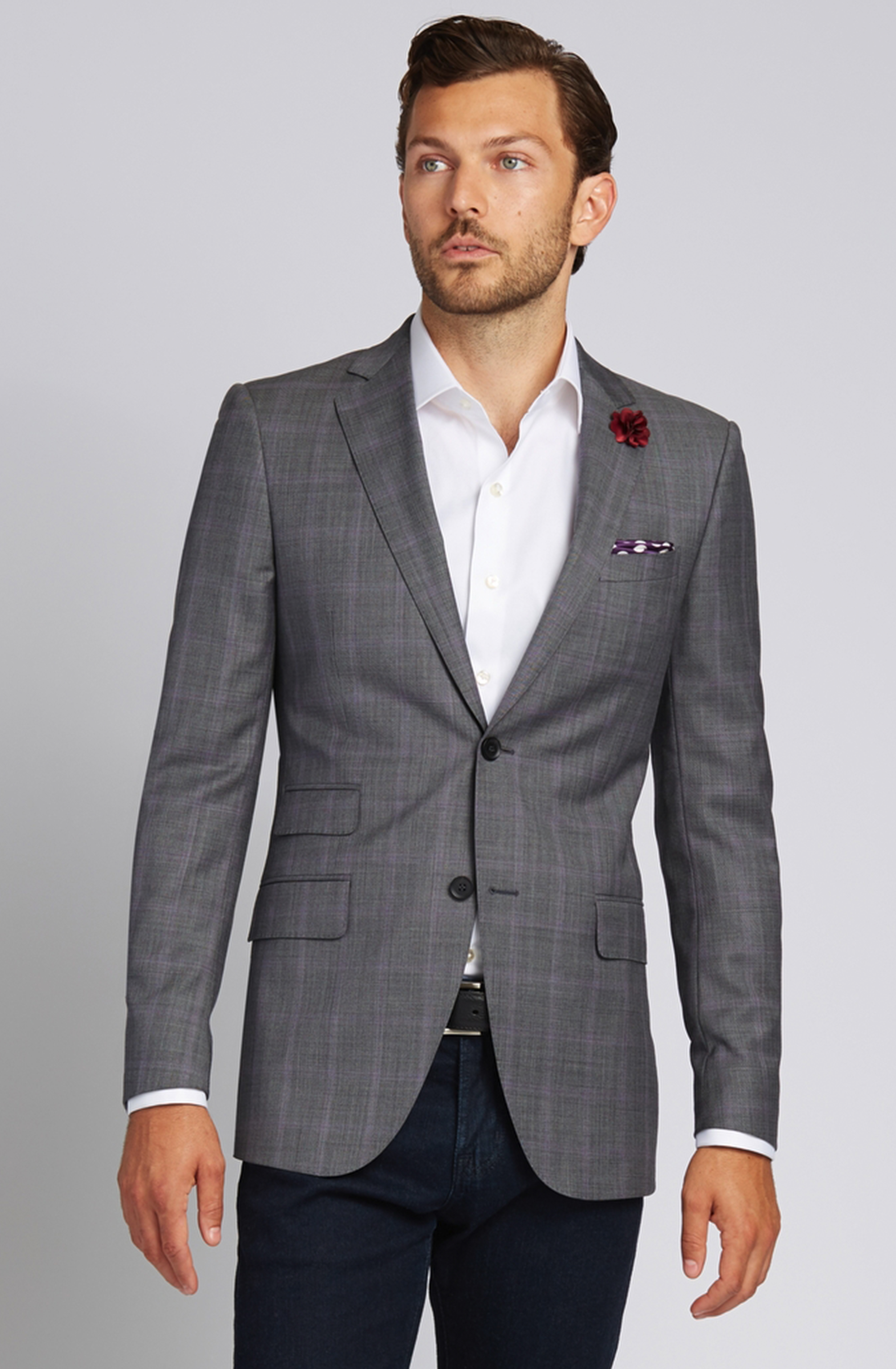 Slim-Fit Super 130s Wool Jacket in Grey with Lavender Glen Plaid