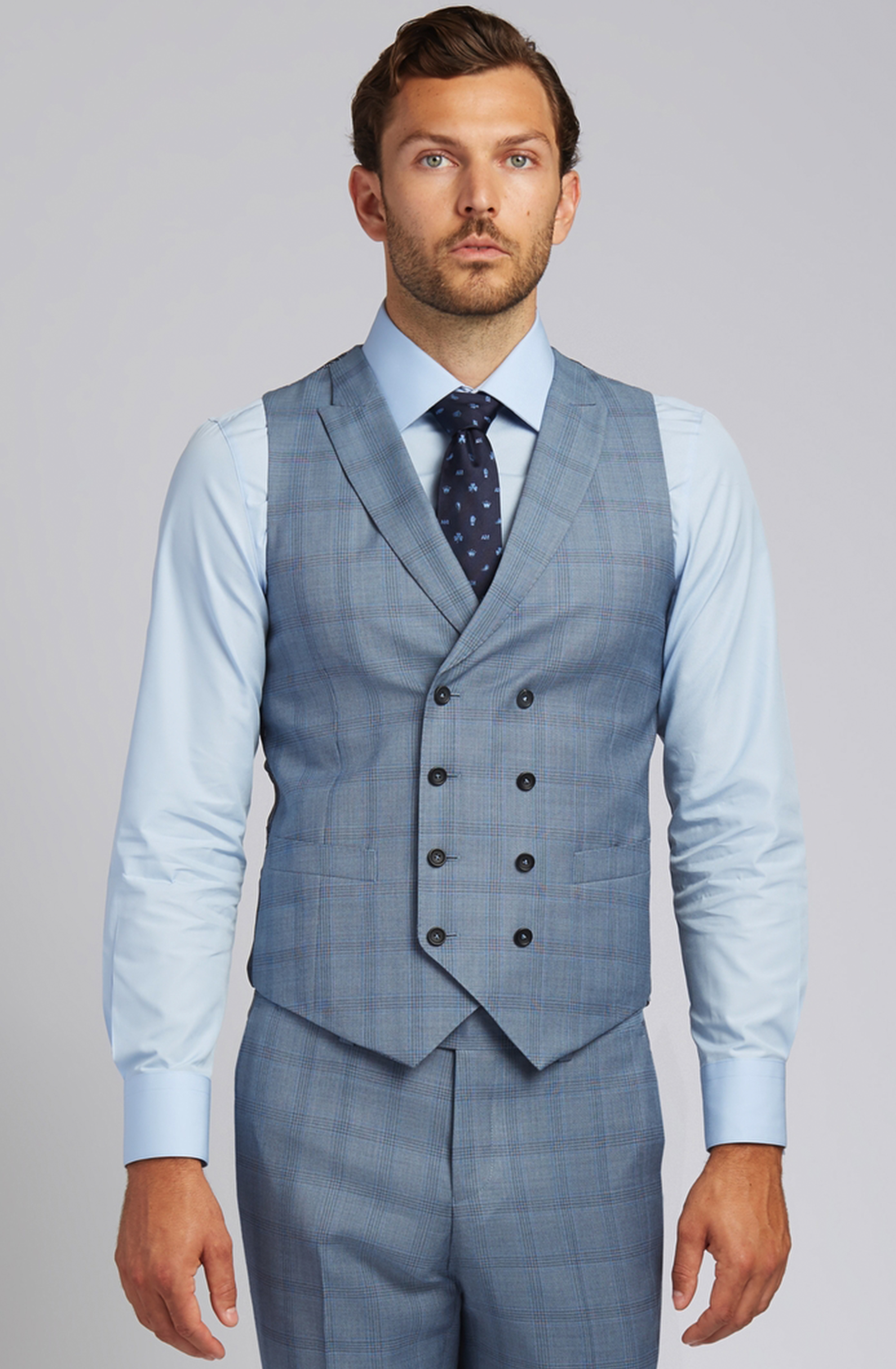 Slim-fit Super 130s Wool Vest in Steel Blue Glen Plaid