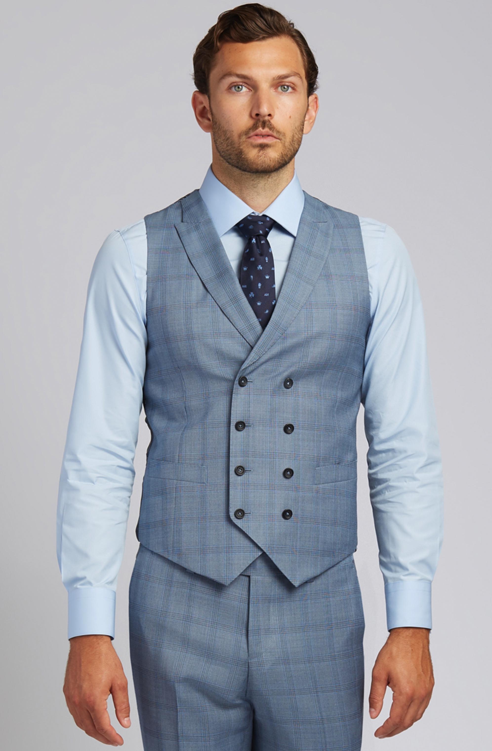 Slim-fit Super 130s Wool Vest in Steel Blue Glen Plaid