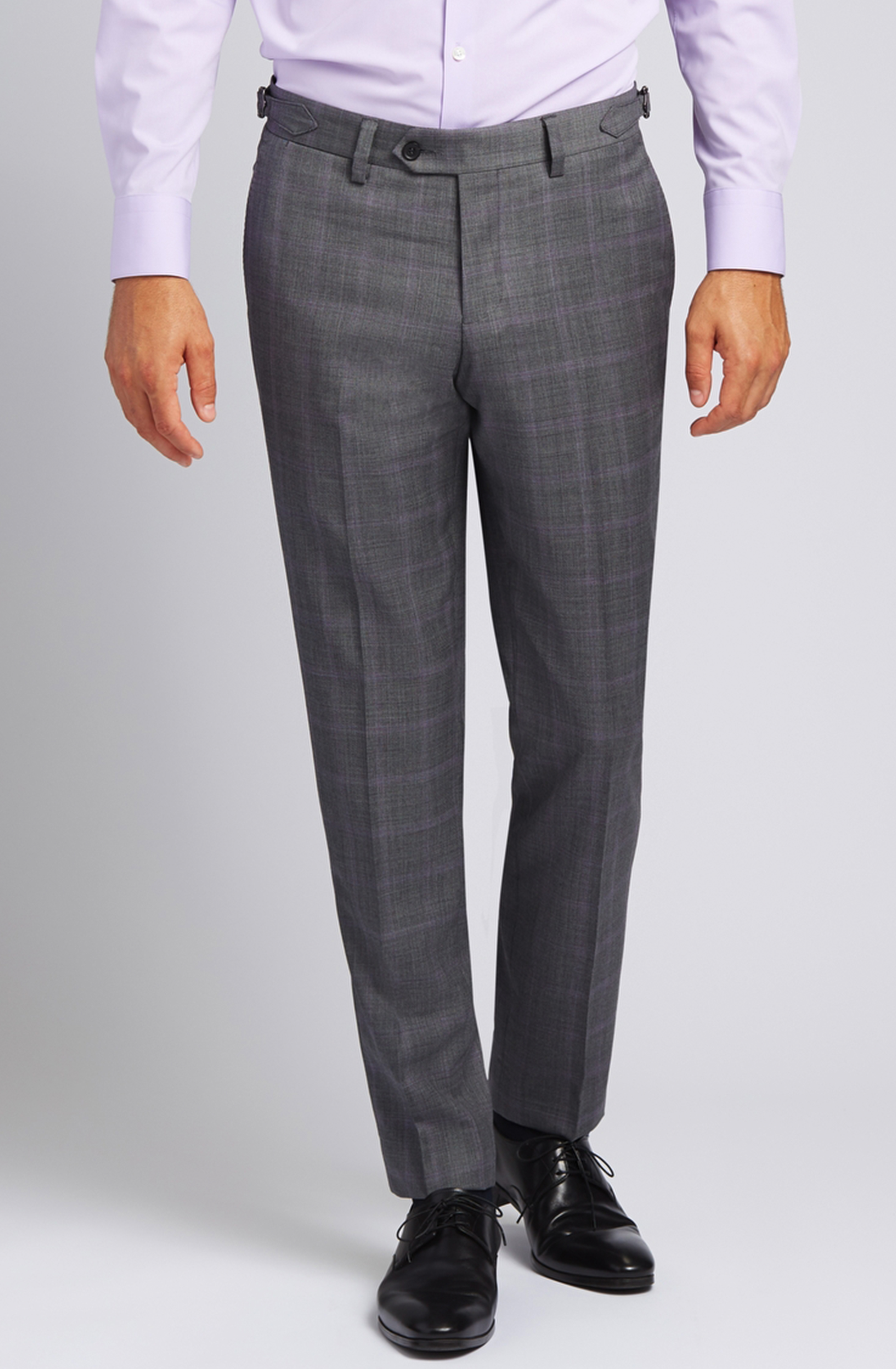 Slim-fit Super 130s Wool Trousers in Grey with Lavender Glen Plaid