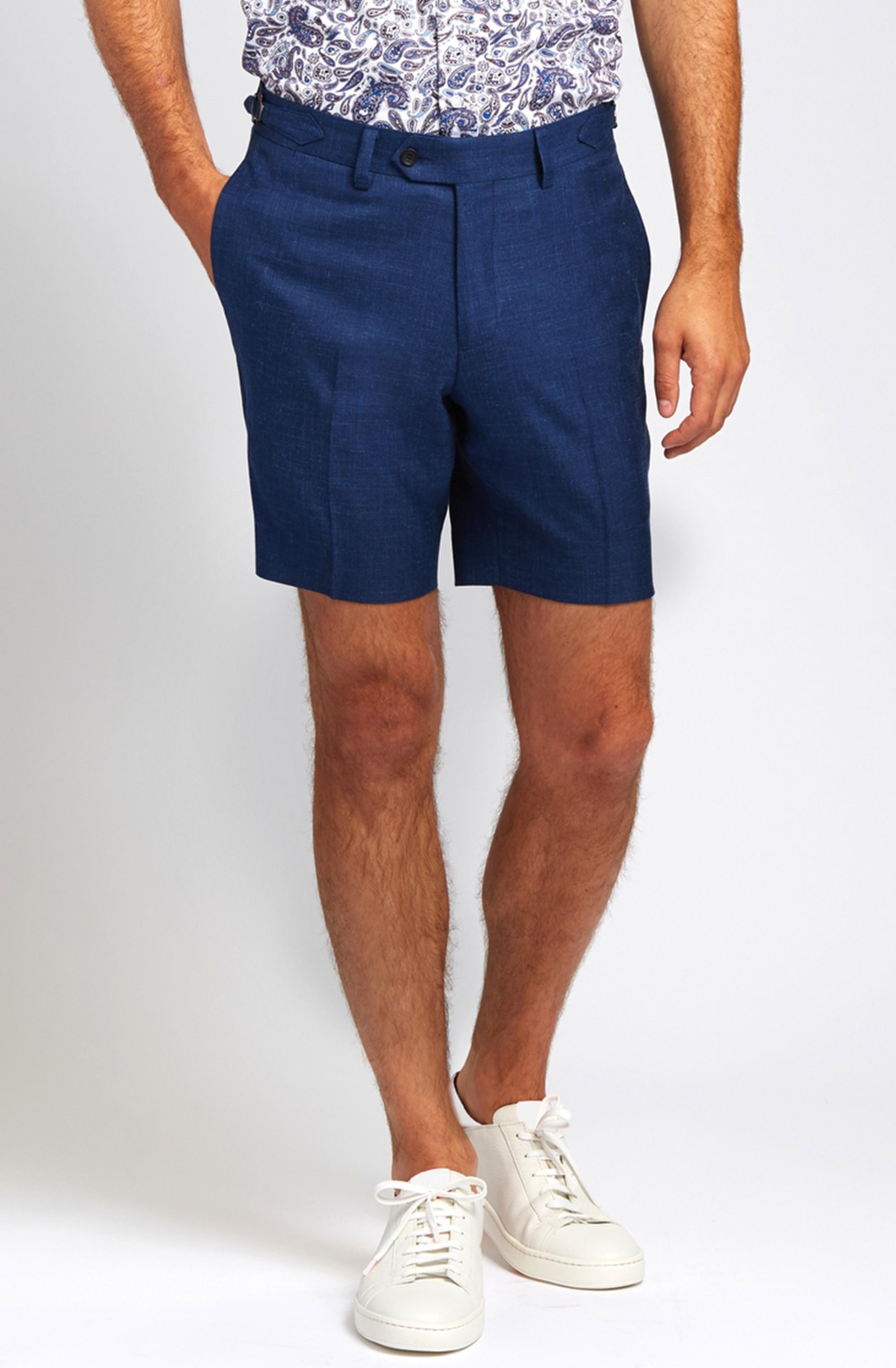 Slim-Fit Linen Blend Shorts in Lapis Blue