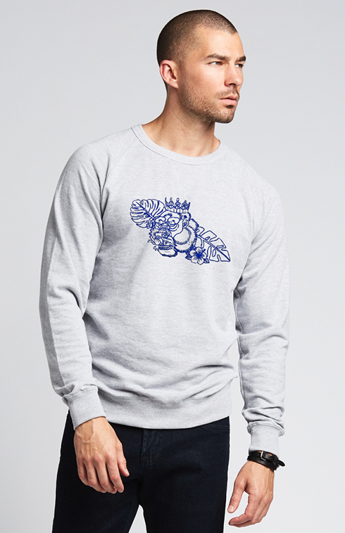 Tropical Gorilla Embroidered French Terry Sweatshirt