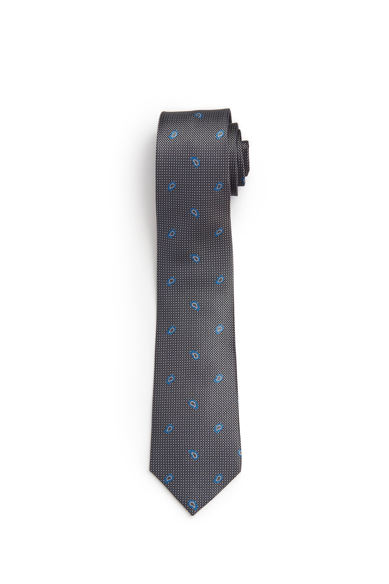 Grey with French Blue Mini Paisley Tie