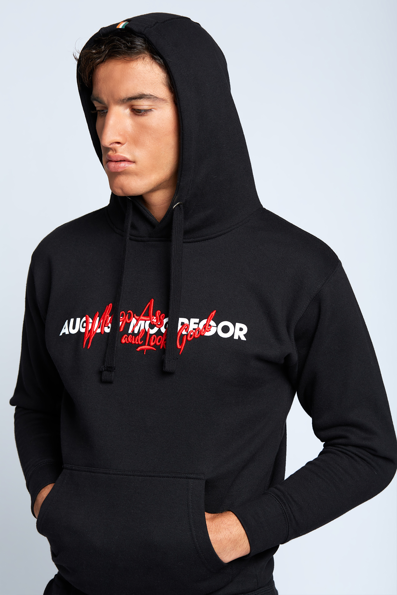 Whoop Ass Embroidered Hooded Sweatshirt in Black