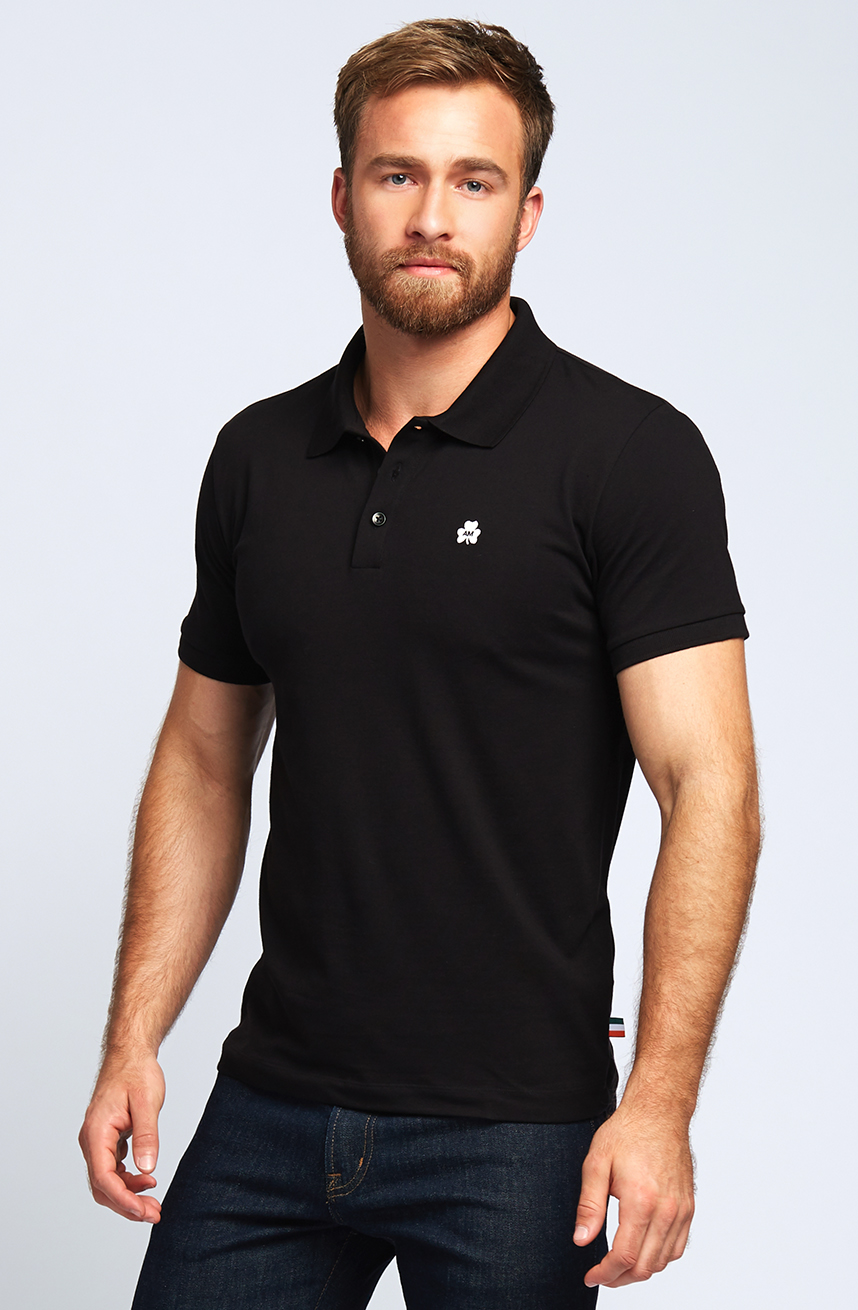 AM Clover Pique Polo in Black