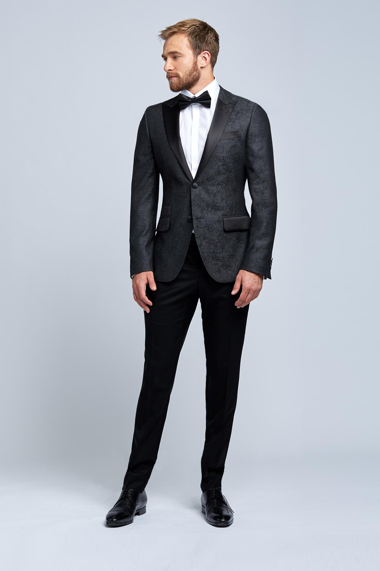 Charcoal Damask Evening Jacket with Tuxedo Pants