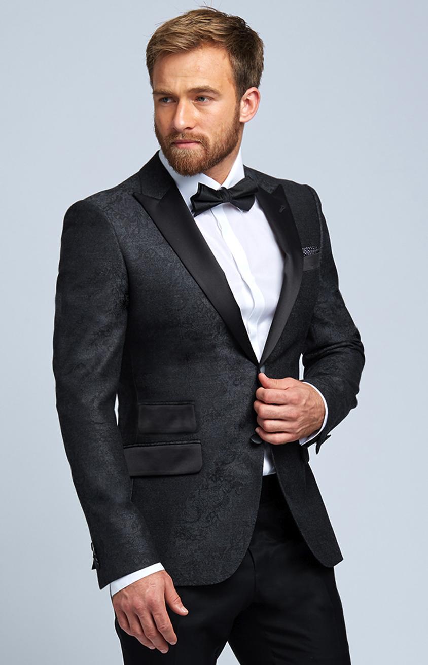 Charcoal Grey Damask Wool Evening Jacket