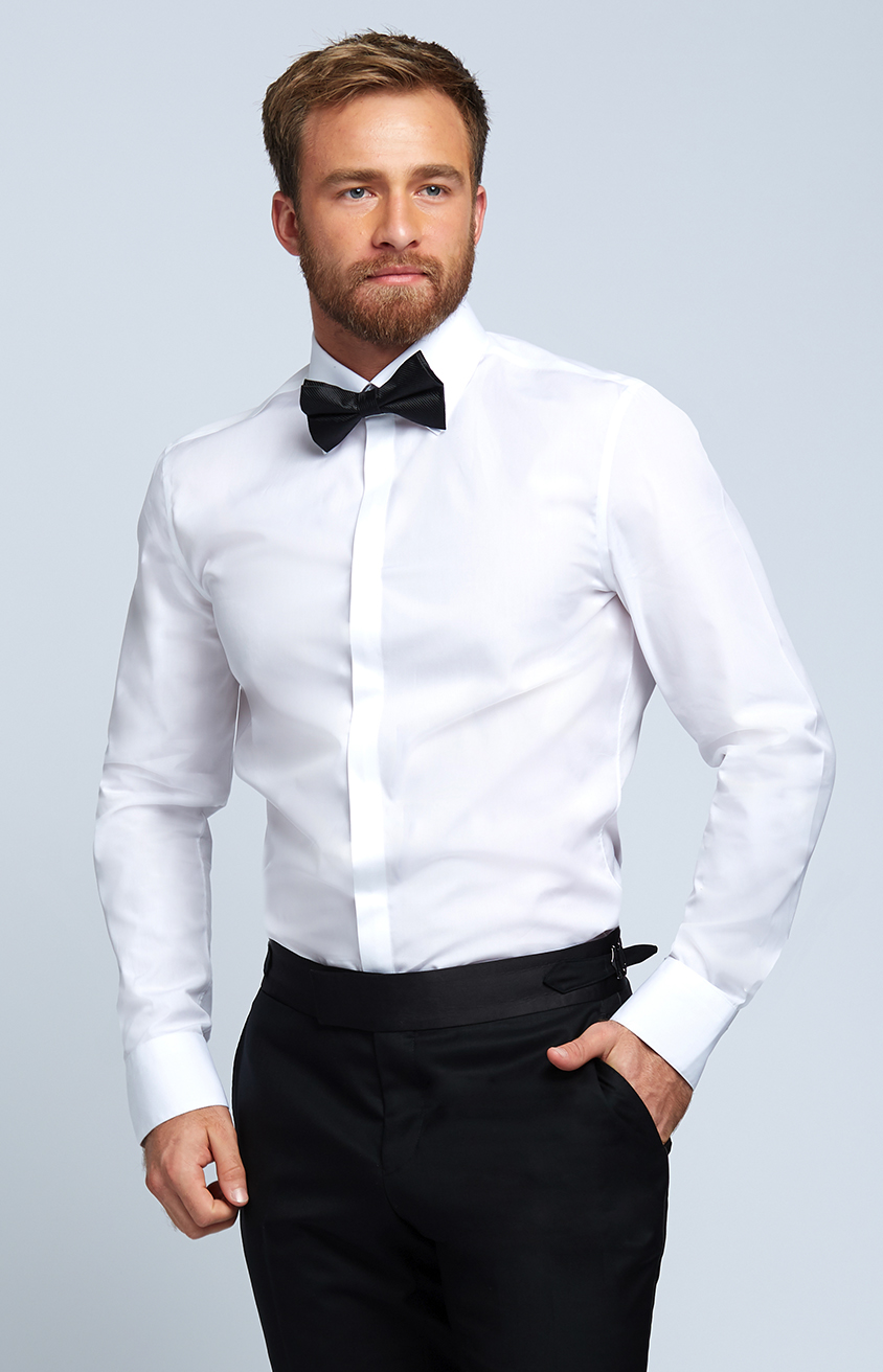 Evening Shirt with Covered Placket in White