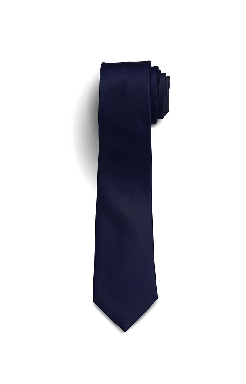 Solid Silk-Satin Navy Tie