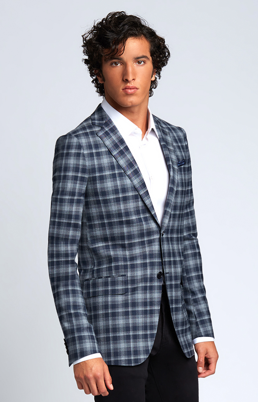Slim-Fit Four Season Wool Jacket in Large Navy Grey Check