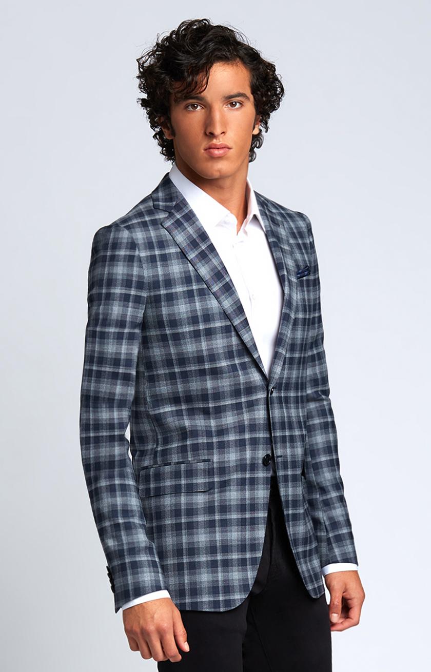 Slim-Fit Four Season Wool Jacket in Large Navy Grey Check