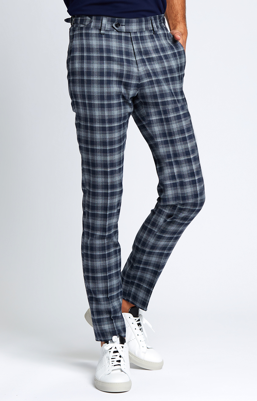 Slim-fit Four Season Wool Trousers in Large Navy Grey Check