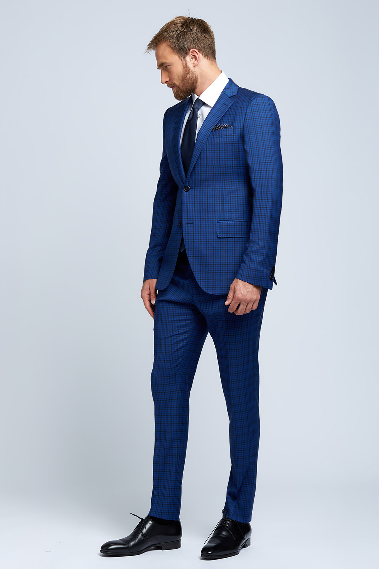 Slim-fit Four Season Wool 2-Piece Suit in Multi Blue Mini Check