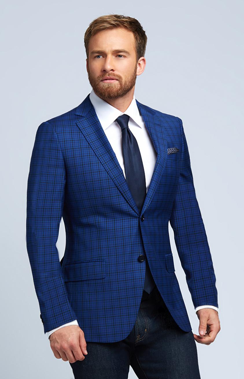 Slim-Fit Four Season Wool Jacket in Multi Blue Mini Check