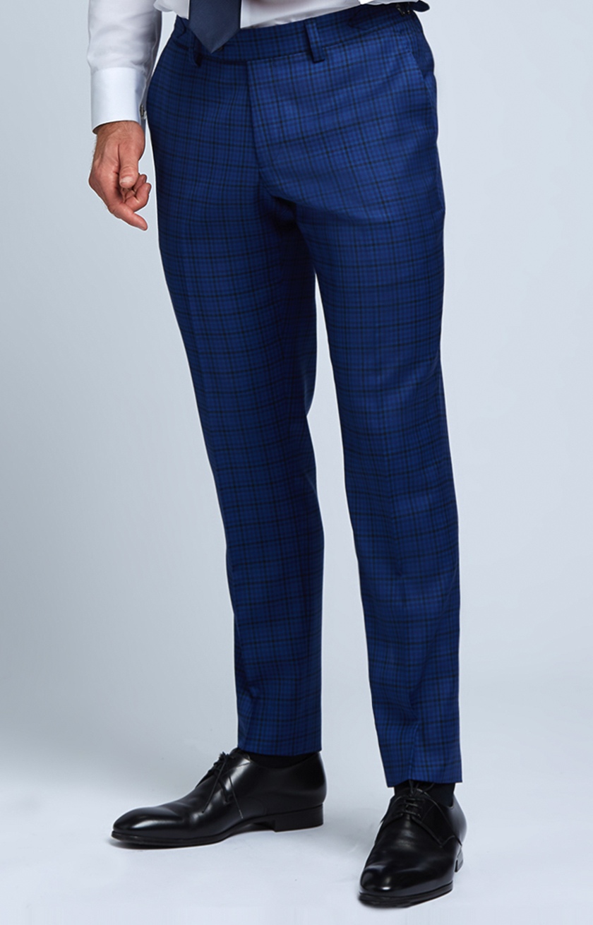 Slim-fit Four Season Wool Trousers in Multi Blue Mini Check