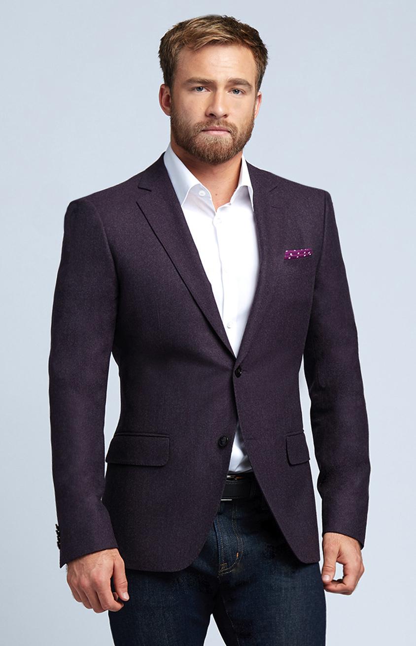 Plum Flannel Wool Sport Coat