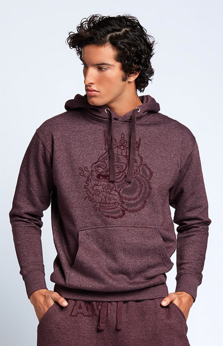 Flocked Blood Hungry Gorilla Hooded Sweatshirt in Plum