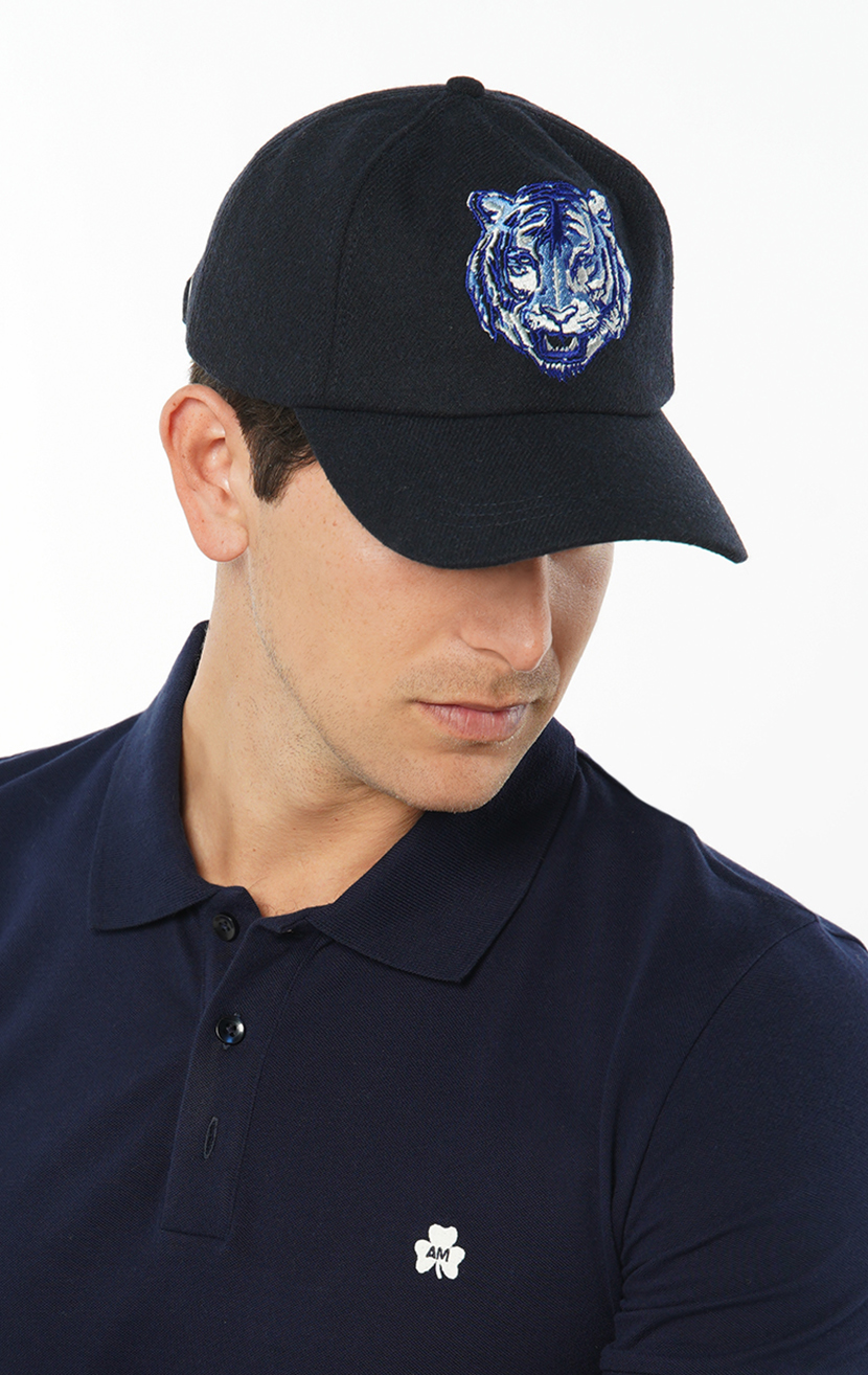 Dublin Tiger Embroidered Wool-Blend Baseball Cap