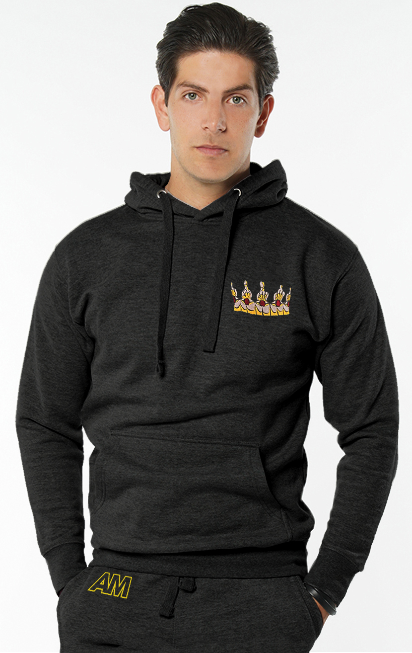 Embroidered Crown Hooded Sweatshirt in Charcoal Grey