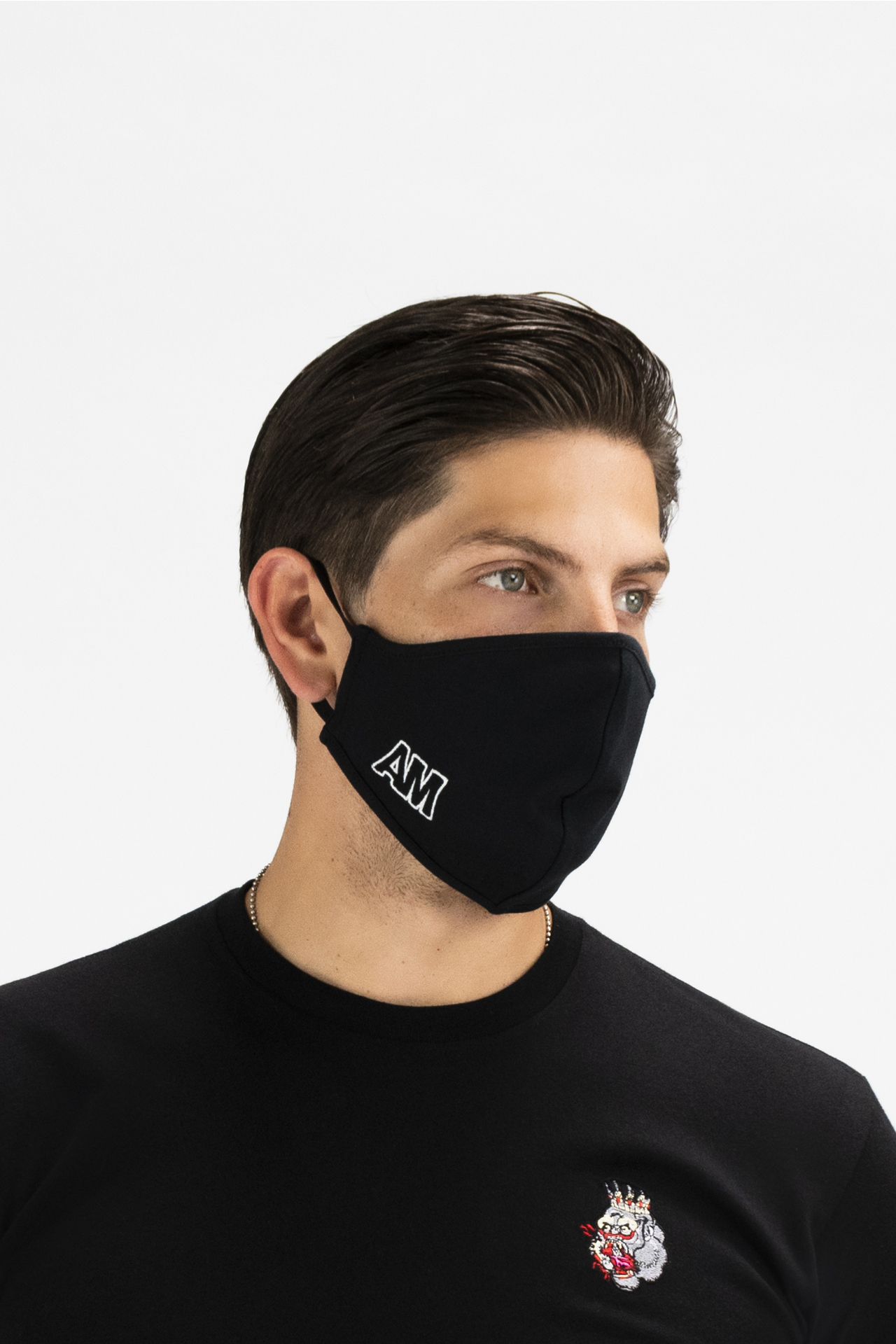 AM Monogram Cloth Face Mask in Black