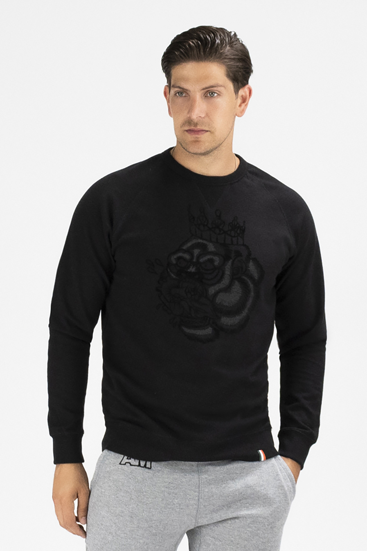 Flocked Blood Hungry Gorilla French Terry Sweatshirt in Black