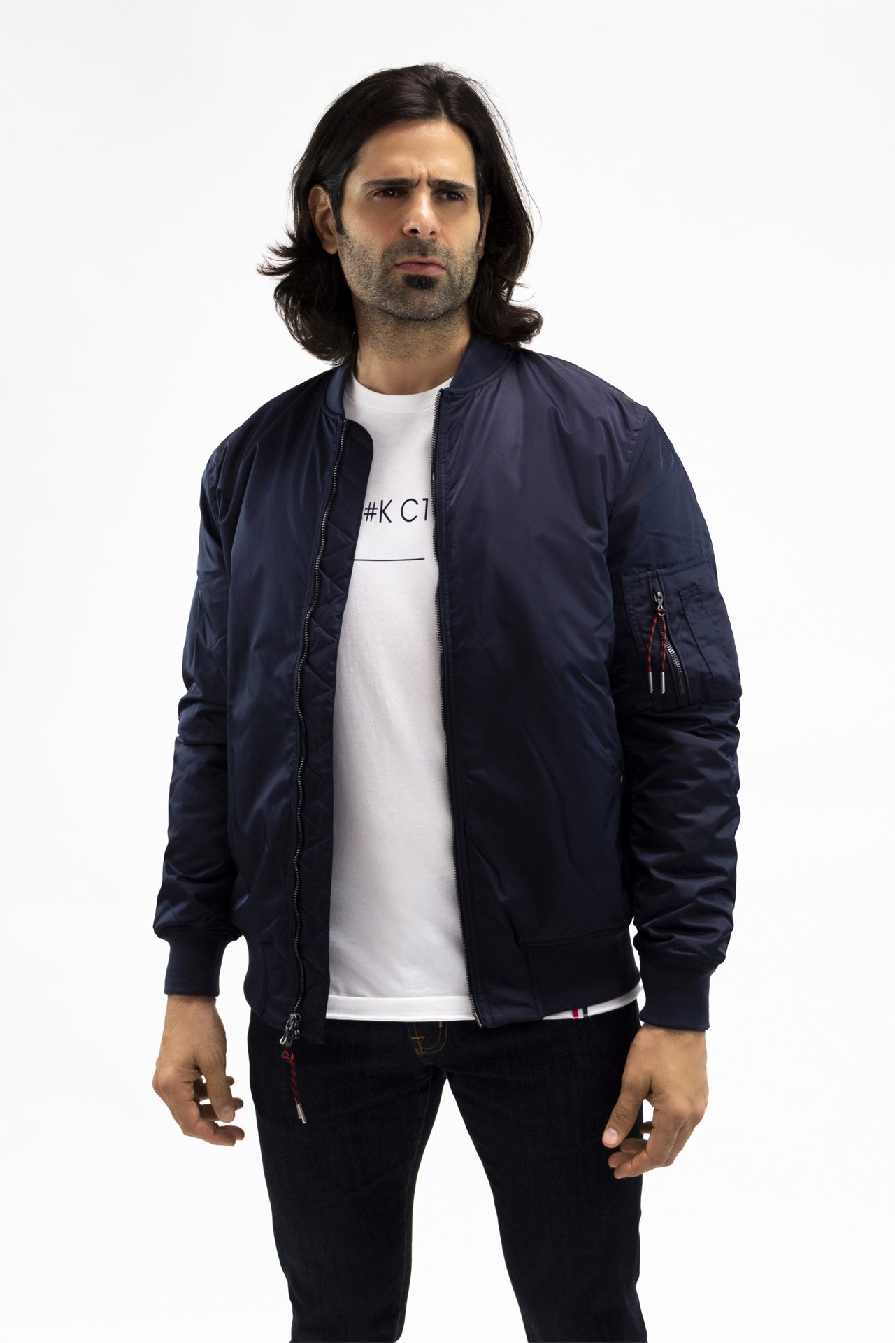 August McGregor Embroidered Blood Hungry Gorilla Bomber Jacket in Navy