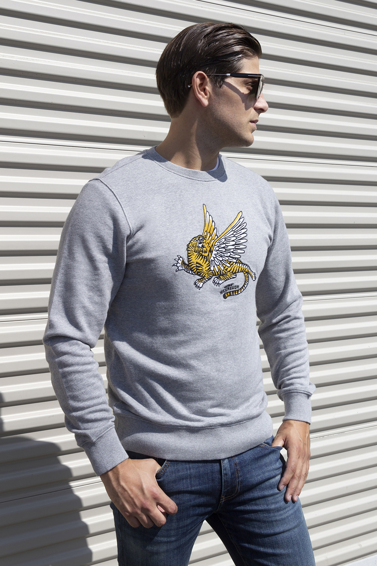 AM X PRPS Crewneck Embroidered Flying Tiger Sweatshirt in Gray