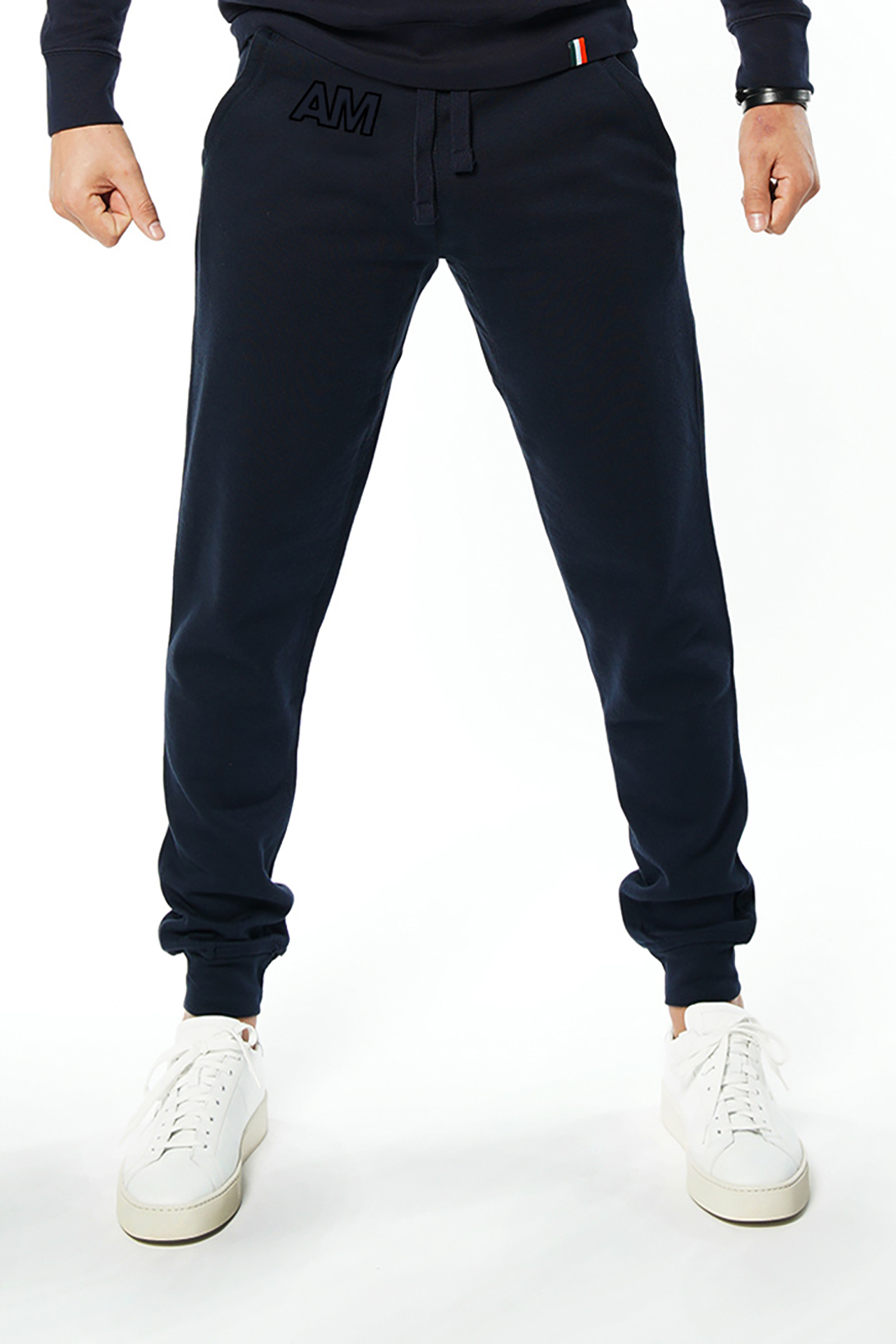 AM Jogger Sweatpants in Navy with Black Stitch