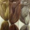 Color comparison from left to right: 4/27 Dark Brown/Strawberry Blond Mix, 2/30 Darkest Brown/Auburn Mix, 4/22 Dark Brown/Ash Blond Mix