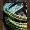 Synthetic dreads in Tropic Ombré and Brown  Ombré, made by Dreadful Kreations