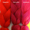 Color comparison from left to right: Pepperoni, Cherry Red, Strawberry