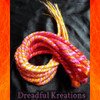 Swirly synth dreads in Pink Ombré and Fire Ombré, made by Dreadful Kreations