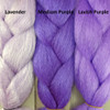 Color comparison from left to right: Lavender, Medium Purple, Lavish Purple