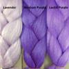 Color comparison from left to right: Lavender, Medium Purple, Lavish Purple