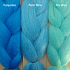 Color comparison from left to right: Turquoise, Polar Blue, Sky Blue