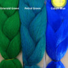 Color comparison from left to right: Emerald Green, Petrol Green, Cobalt Blue