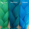 Color comparison from left to right: Light Petrol Green, Petrol Green, Turquoise