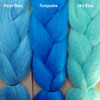 Color comparison from left to right: Polar Blue, Turquoise, Sky Blue