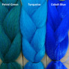 Color comparison from left to right: Petrol Green, Turquoise, Cobalt Blue