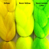 Color comparison from left to right: Yellow, Neon Yellow, Neon Lemon Lime