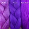 Color comparison from left to right: Orchid, Purple, Neon Purple